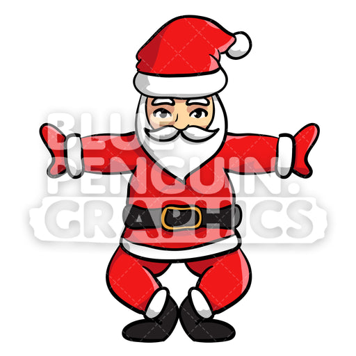 Santa Yoga version 1 Christmas Vector Cartoon Clipart Illustration - Blue Penguin Graphics