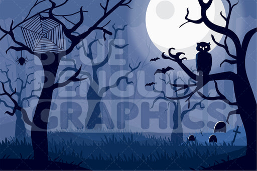 Scary Forest Full Moon Night Graphic Background Clipart - Blue Penguin Graphics