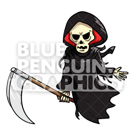 Scary Halloween Angel Of Death Characters Vector Cartoon Clipart Illustration - Blue Penguin Graphics
