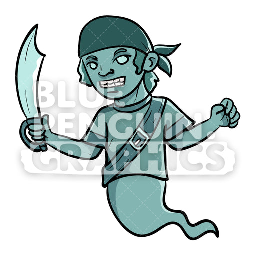 Scary Pirate Ghost with a Sword Vector Cartoon Clipart Illustration - Blue Penguin Graphics