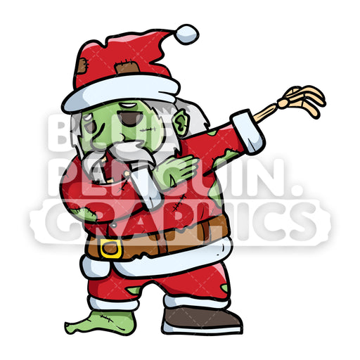 Scary Santa Zombie Dabbing Vector Cartoon Clipart Illustration - Blue Penguin Graphics