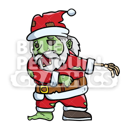 Scary Santa Zombie Flossing Vector Cartoon Clipart Illustration - Blue Penguin Graphics