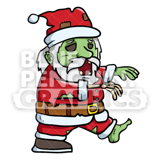 Scary Walking Santa Claus Zombie Vector Cartoon Clipart Illustration - Blue Penguin Graphics