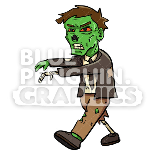 Scary Walking Zombie Vector Cartoon Clipart Illustration - Blue Penguin Graphics