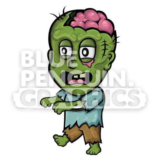 Scary Zombie Walking Vector Cartoon Clipart - Blue Penguin Graphics