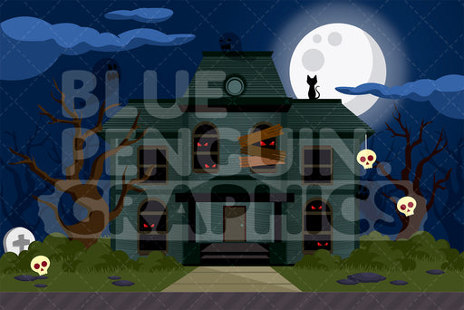 Scary Haunted House Graphic Background Clipart - Blue Penguin Graphics