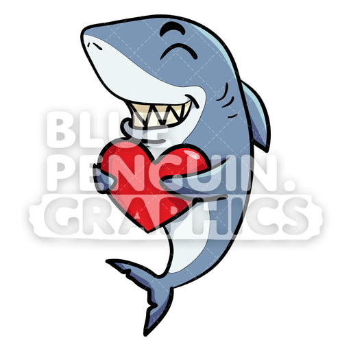 Shark Bringing Big Red Heart Vector Cartoon Clipart - Blue Penguin Graphics