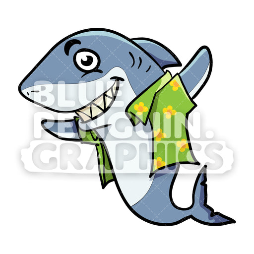 Shark with Summer Outfit Vector Cartoon Clipart - Blue Penguin Graphics