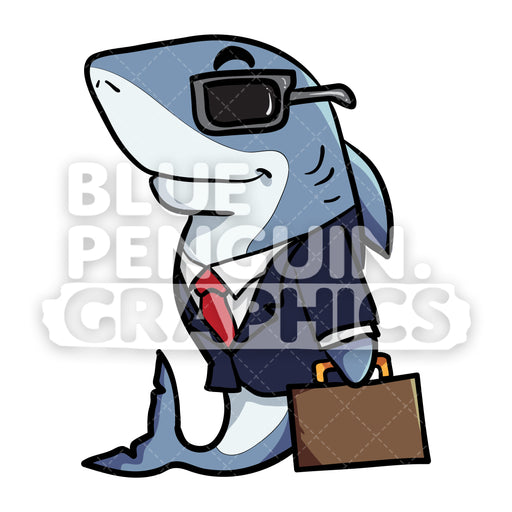 Shark with Work Outfit Vector Cartoon Clipart - Blue Penguin Graphics