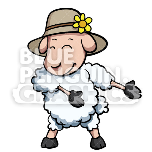 Sheep Floss Dance Vector Cartoon Clipart Illustration - Blue Penguin Graphics
