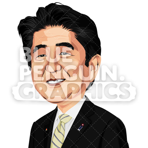 Prime Minister of Japan Shinzō Abe Vector Clipart Illustration - Blue Penguin Graphics