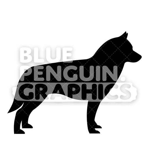 Siberian Husky Silhouettes Vector Cartoon Clipart Illustration - Blue Penguin Graphics