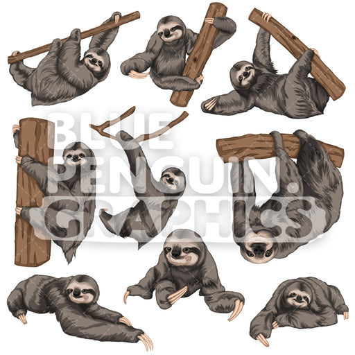 Sloth Bundle Set Vector Clipart - Blue Penguin Graphics
