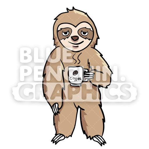 Sloth Drinking Coffee Vector Cartoon Clipart Illustration - Blue Penguin Graphics