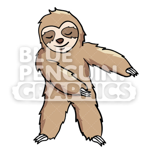 Sloth Floss Vector Cartoon Clipart Illustration - Blue Penguin Graphics