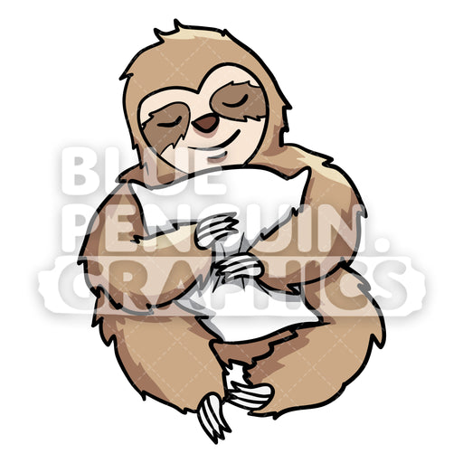 Sloth Hug a Pillow Vector Cartoon Clipart Illustration - Blue Penguin Graphics
