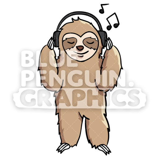Sloth Listening to Music Vector Cartoon Clipart Illustration - Blue Penguin Graphics