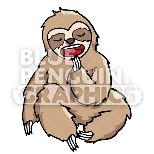 Sloth Yawning Vector Cartoon Clipart Illustration - Blue Penguin Graphics