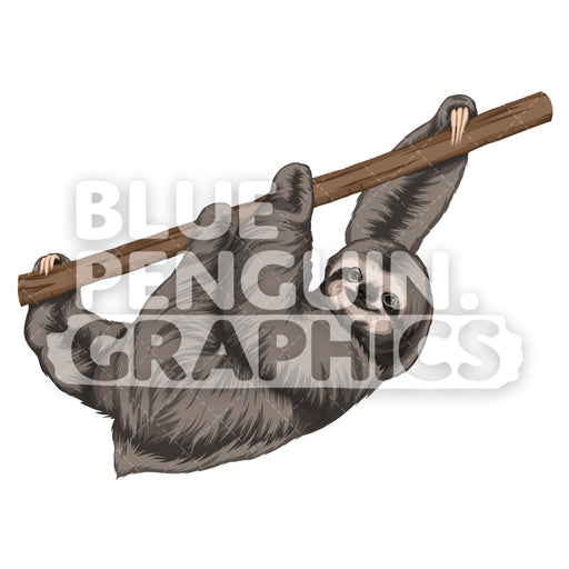 Sloth Version 1 Vector Clipart Illustration - Blue Penguin Graphics