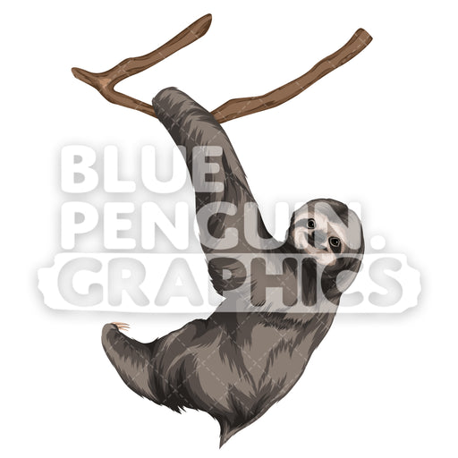 Sloth Version 5 Vector Clipart Illustration - Blue Penguin Graphics