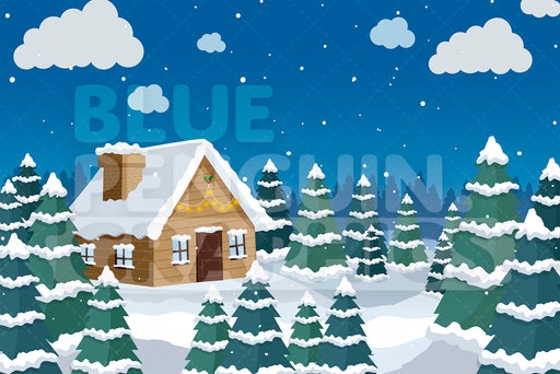 Small House In The Snow Graphic Background Clipart - Blue Penguin Graphics
