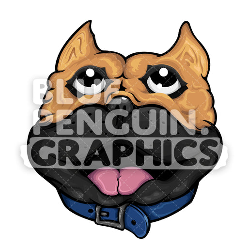 Smiling Pug Dog Head Vector Cartoon Clipart Illustration - Blue Penguin Graphics