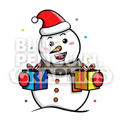 Snowman Bringing Christmas Gift Boxes Vector Cartoon Clipart - Blue Penguin Graphics