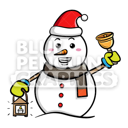 Snowman Bringing a Lamp and a Christmas Bell Vector Cartoon Clipart - Blue Penguin Graphics