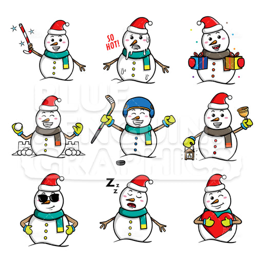 Snowman Bundle Set Vector Cartoon Clipart - Blue Penguin Graphics