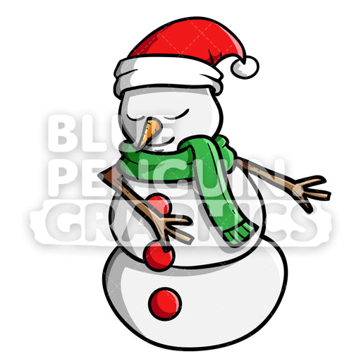 Snowman Floss Dance Vector Cartoon Clipart Illustration - Blue Penguin Graphics