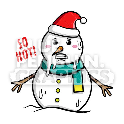 Snowman Melted Feeling so Hot Vector Cartoon Clipart - Blue Penguin Graphics