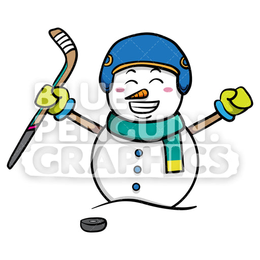 Snowman Playing Ice Hockey Vector Cartoon Clipart - Blue Penguin Graphics