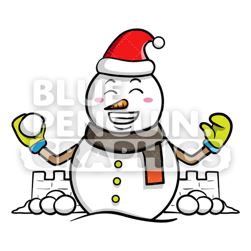 Snowman Playing Snowball Vector Cartoon Clipart - Blue Penguin Graphics