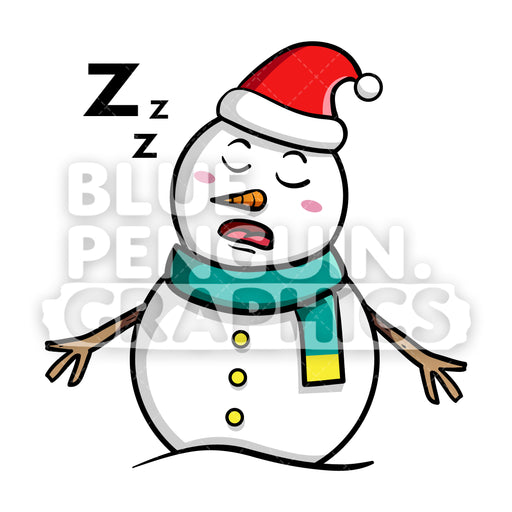 Snowman Sleeping Vector Cartoon Clipart - Blue Penguin Graphics