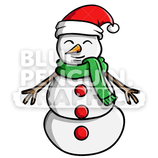 Snowman Standing Vector Cartoon Clipart Illustration - Blue Penguin Graphics