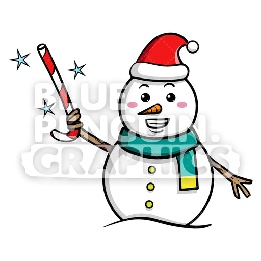 Snowman with Magic Christmas Stick Vector Cartoon Clipart - Blue Penguin Graphics