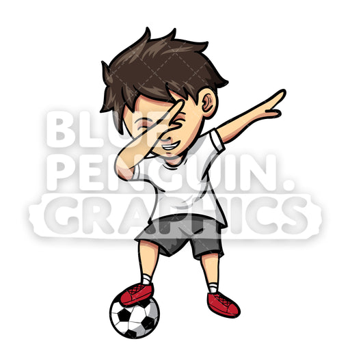 Soccer Dabbing Boy Vector Cartoon Clipart Illustration - Blue Penguin Graphics