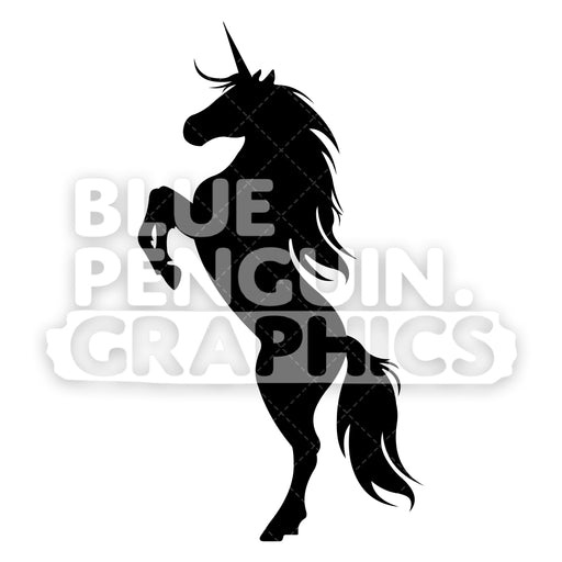 Standing Unicorn From Left Side Silhouettes Vector Cartoon Clipart Illustration - Blue Penguin Graphics