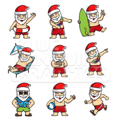 Summer Santa Bundle Set Vector Cartoon Clipart - Blue Penguin Graphics