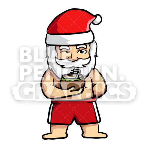Summer Santa Drinking Coconut Water Vector Cartoon Clipart - Blue Penguin Graphics