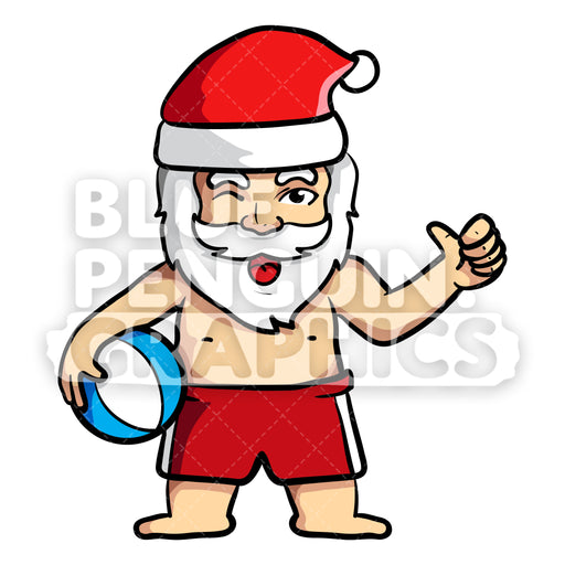 Summer Santa Giving Thumbs up Vector Cartoon Clipart - Blue Penguin Graphics