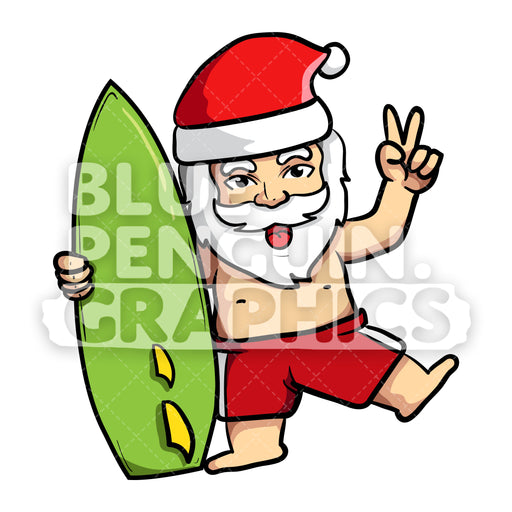 Summer Santa Hugging Surfing Board Vector Cartoon Clipart - Blue Penguin Graphics