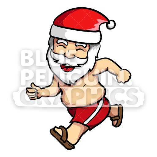 Summer Santa Running with a Happy Face Vector Cartoon Clipart - Blue Penguin Graphics