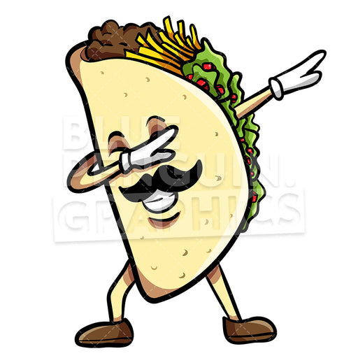 Taco Dabbing With Sombrero Mexican Vector Cartoon Clipart Illustration - Blue Penguin Graphics