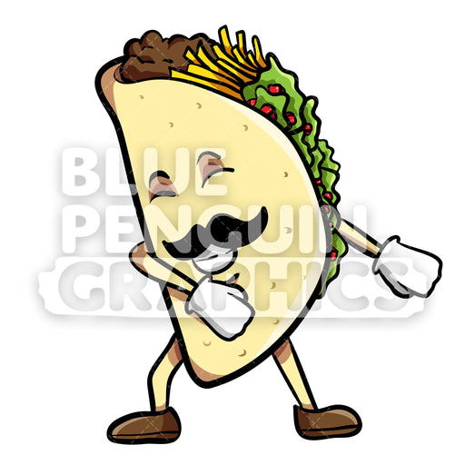 Taco Floss Dance Vector Cartoon Clipart Illustration - Blue Penguin Graphics