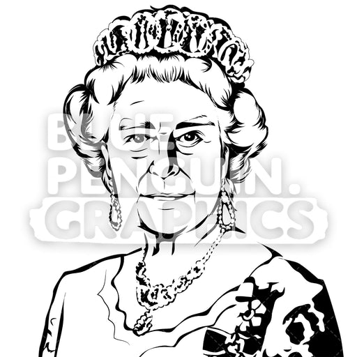 Queen Of England Elizabeth II Silhouette - Blue Penguin Graphics