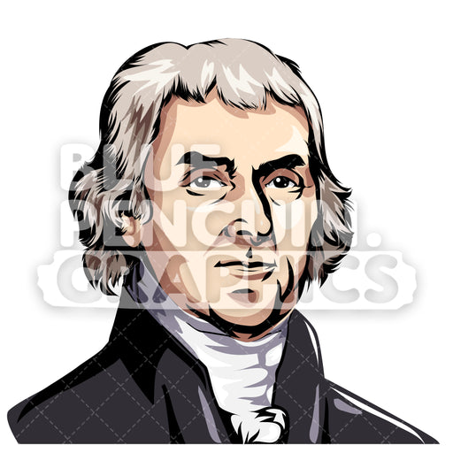 Thomas Jefferson USA Vector Clipart Illustration - Blue Penguin Graphics