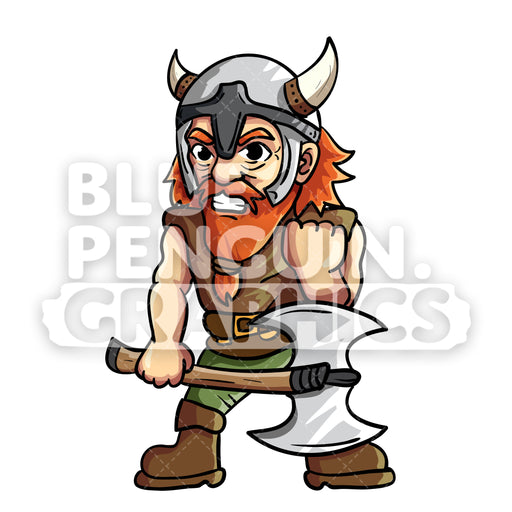 Troy Cool Viking Vector Cartoon Clipart Illustration - Blue Penguin Graphics