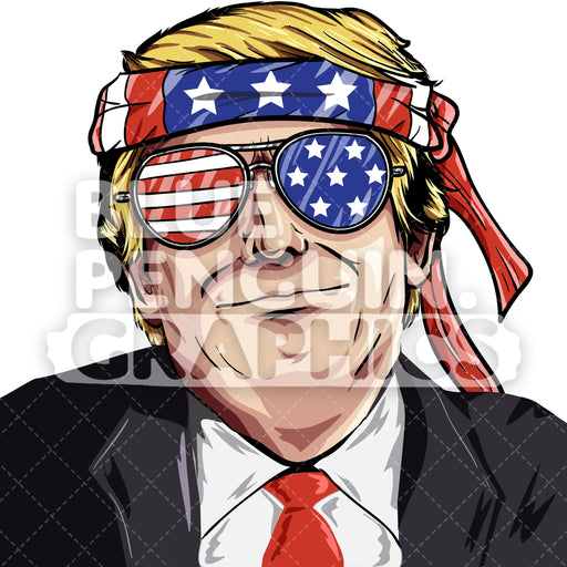 Donald Trump USA Vector Cartoon Clipart Illustration - Blue Penguin Graphics