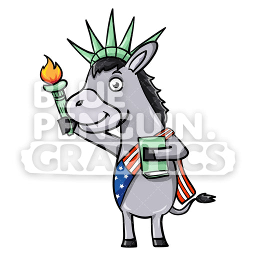 USA Democratic Party Donkey Vector Cartoon Clipart Illustration - Blue Penguin Graphics